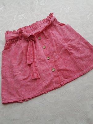 Falda de lino rosa
