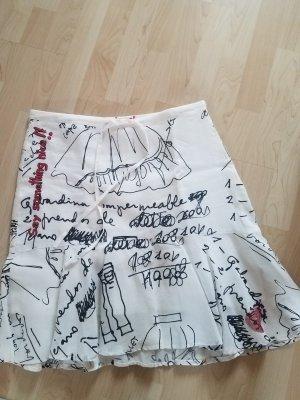 Desigual Flared Skirt black-white ramie