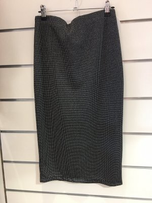 0039 Italy Jupe mi-longue noir-argenté