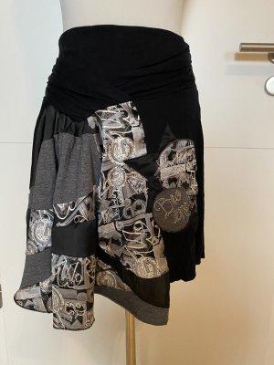 Desigual Falda asimétrica negro-color plata