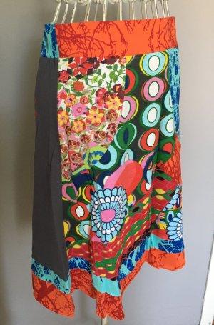Desigual Jupe asymétrique multicolore coton