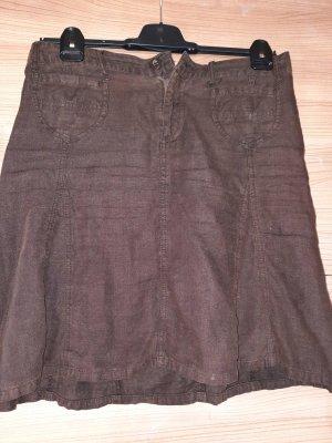 Street One Falda de lino marrón-marrón oscuro