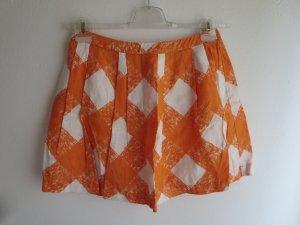 Rock Falten orange-weiß Leinen
