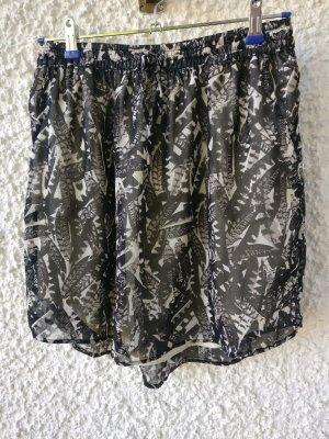 Tchibo / TCM Falda de talle alto negro-blanco Poliéster