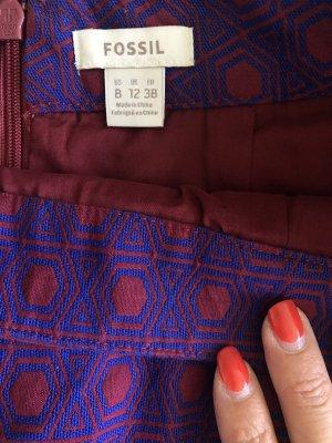 Fossil Pencil Skirt dark red-blue cotton