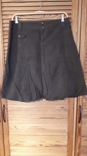 Falda de lino marrón grisáceo