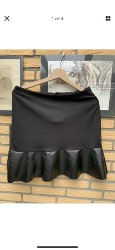 Blue Motion Faux Leather Skirt black