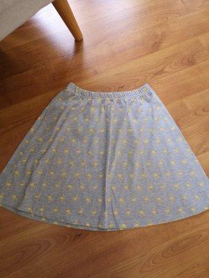 Aniston Jupe évasée jaune fluo-gris clair tissu mixte