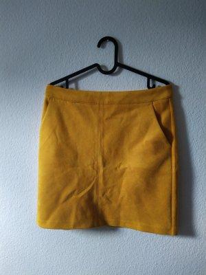 Orsay Falda de cuero marrón arena-amarillo