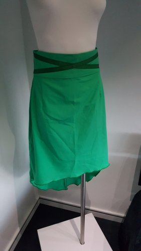 Falda asimétrica verde Poliéster