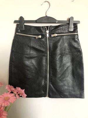 Stradivarius Faux Leather Skirt black