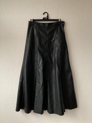 Zara Woman Spódnica z imitacji skóry czarny