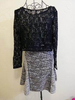 H&M Tulip Skirt white-black