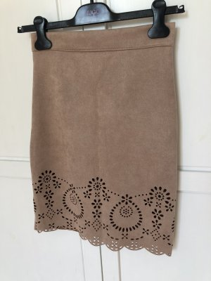 Nolita Falda de cuero de imitación marrón claro-camel Poliéster