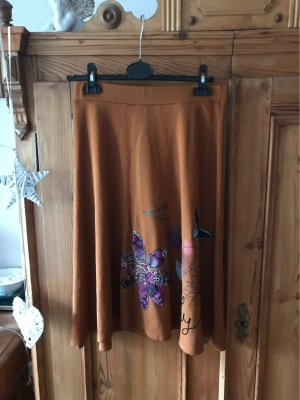 Desigual Knitted Skirt cognac-coloured