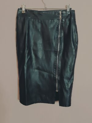 Faux Leather Skirt black-silver-colored