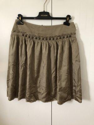 Jedwabna spódnica ochra-oliwkowy