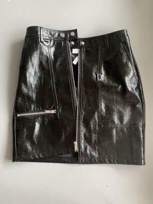 Vila Faux Leather Skirt black-silver-colored