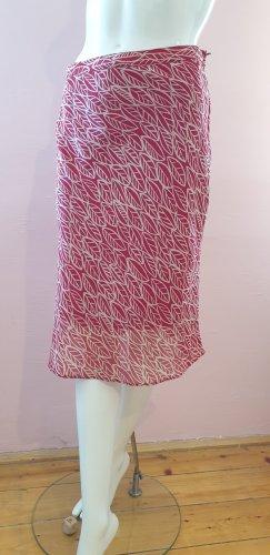 H&M Basic Silk Skirt white-red