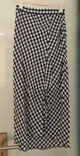 Maje Jupe asymétrique blanc-noir coton