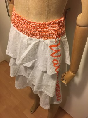 Warstwowa spódnica biały-pomarańczowy neonowy