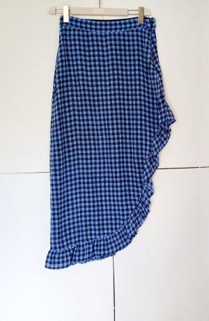 Custommade Falda asimétrica negro-azul acero Seda