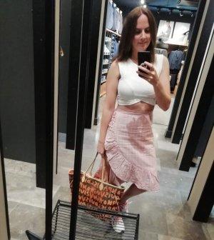 BPC Selection Premium Falda de lino blanco-rosa empolvado