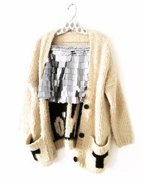 rock • mini • pailletten • vintage • sequins • silberfarben