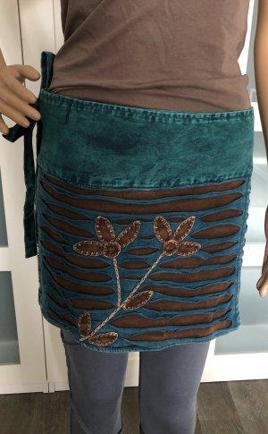 Handmade Jupe portefeuille multicolore coton