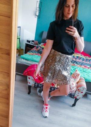 High Waist Skirt black-gold-colored