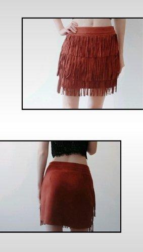 Fringed Skirt brown-cognac-coloured