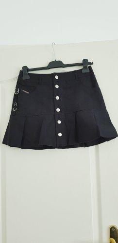 Diesel Falda de patinador negro-color plata Algodón