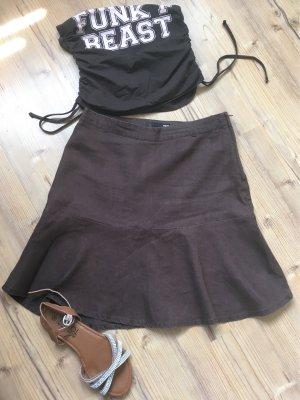 H&M Lniana spódnica ciemnobrązowy-jasny różowy