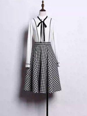 Chiffon Dress white-black
