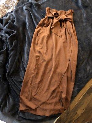 H&M Wraparound Skirt cognac-coloured
