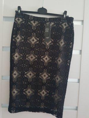0039 Italy Falda de encaje negro-beige