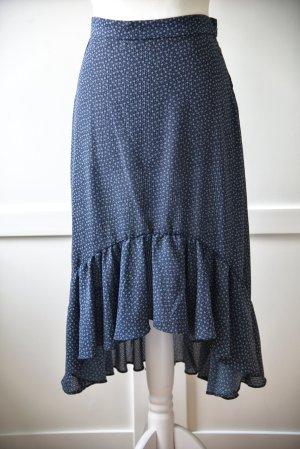 H&M Spódnica z falbanami biały-niebieski Poliester