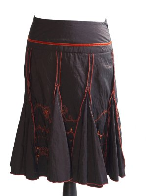 Promod Taffeta Skirt dark brown-dark orange
