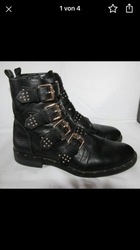 Rock Punk Nieten Stiefeletten schwarz 37