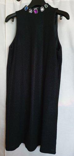 Rock Religion Sommer Cocktail Party Mini Kleid ärmellos schwarz bunte Strass Steine Stehkragen