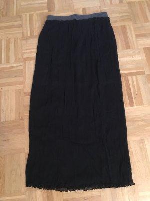 120% Lino Maxi Skirt black-grey