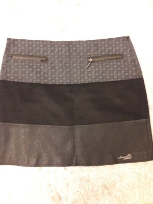 Amarillolimon Falda de cuero de imitación negro-gris oscuro Poliuretano