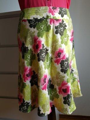 Ann Taylor Falda de seda rosa-verde hierba