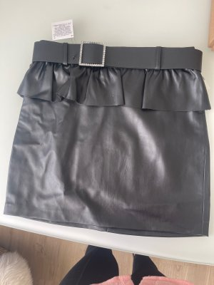 Zara Leather Skirt black-silver-colored