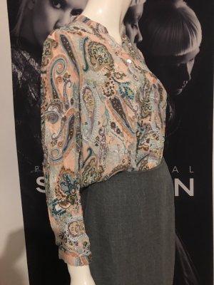 Rock Tulpen Rock mit raffiniertem Falten Abschluss grau und viskose Bluse etro Stil  ital