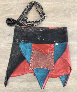 Rock Überrock Wickelrock Baumwolle bunt schwarz petrol rot Gr.S-XL stonewashed