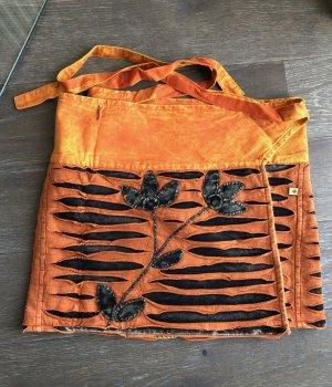 Rock Überrock Wickelrock Baumwolle gefüttert stonewashed orange schwarz One Size
