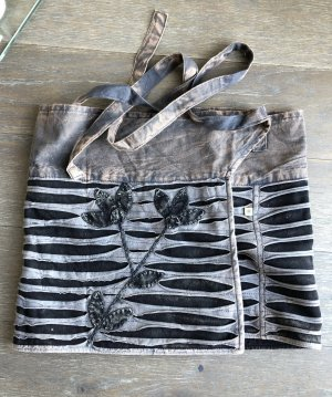 Rock Überrock Wickelrock grau schwarz Razer Optik stonewashed S-XL