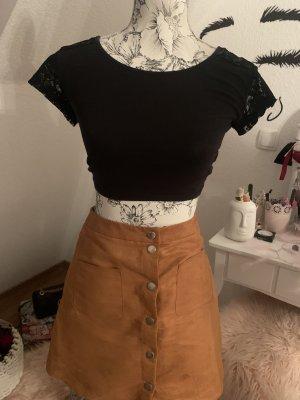 Amisu High Waist Skirt black-cognac-coloured