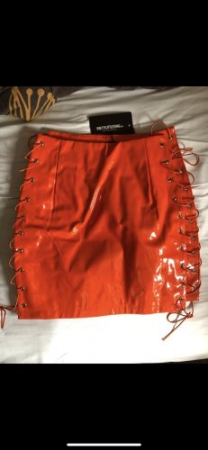 0039 Italy Faux Leather Skirt neon orange